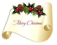 Desfile de la Navidad con pinecone y acebo Fotos de archivo