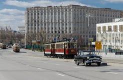 desfile de la Retro-tranvía en Moscú foto de archivo
