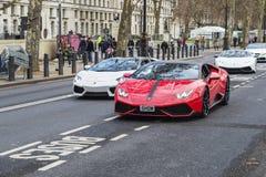 Desfile de Lamborghini Aventador en Londres, Inglaterra, Kingd unido Imagenes de archivo