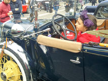 Desfile de los coches del vintage Foto de archivo