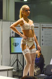 Desfile de moda Autumn White Lingrie da expo de Moscou Lingrie e meias louras Imagens de Stock