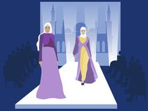 Desfile de moda Modelos muçulmanos das mulheres Indústria de Vogue No estilo minimalista Vetor liso dos desenhos animados ilustração do vetor