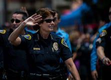 Desfile de orgullo de San Diego LGBT 2017, fuerza de policía Fotografía de archivo