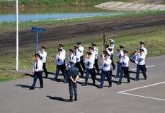 Desfile de una orquesta militar en Omsk Imagen de archivo libre de regalías
