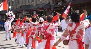Desfile del día de Canadá en Banff Imagen de archivo