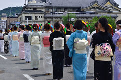 Desfile del festival de Gion, parasoles de la flor Kyoto Japón imagen de archivo