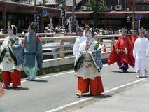 Desfile del festival tradicional de Aoi, Kyoto Japón fotografía de archivo