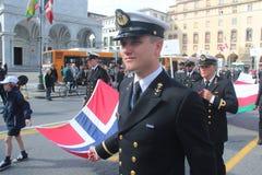 Desfile del MORENO de marinas de guerra extranjeras. Bandera de Noruega Fotos de archivo libres de regalías