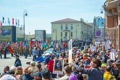 Desfile el día de fiesta año el 9 de mayo de 2017 cuadrado Rusia, Vladivostok Imagen de archivo