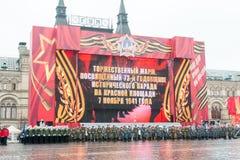 Desfile en Plaza Roja en Moscú Fotos de archivo