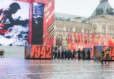 Desfile en Plaza Roja en Moscú Foto de archivo