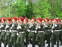 Desfile en una ciudad Kalatch-en-Donu el 9 de mayo de 2010 Fotografía de archivo libre de regalías