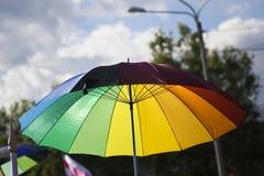 Desfile gay en el parque imagenes de archivo