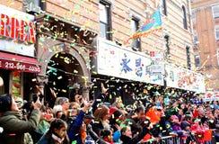 Desfile lunar del Año Nuevo 2014 en Chinatown, Nueva York Imágenes de archivo libres de regalías