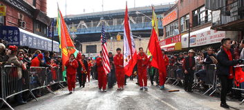 Desfile lunar del Año Nuevo 2014 en Manhattan, NY Fotografía de archivo