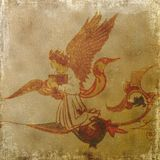 Desfile medieval del alcohol del ángel - fondo sucio Fotos de archivo