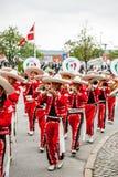 Desfile mexicano de la banda de la flauta Imágenes de archivo libres de regalías