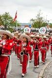 Desfile mexicano de la banda de la flauta Imagenes de archivo