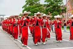 Desfile mexicano de la banda de la flauta Fotografía de archivo