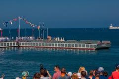 Desfile militar de naves en el día de la marina de guerra en Rusia en Sevastopol fotografía de archivo