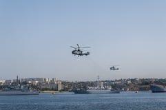 Desfile militar de naves en el día de la marina de guerra en Rusia en Sevastopol Imagen de archivo