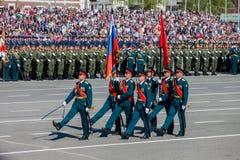 Desfile militar durante la celebración del día de la victoria fotos de archivo libres de regalías