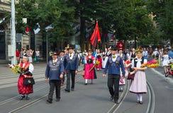 Desfile suizo del día nacional en Zurich Foto de archivo libre de regalías