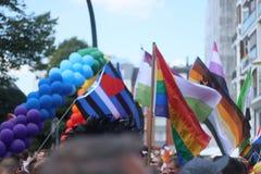 Desfile 2018 versión parcial de programa de Hamburgo, Alemania LGBTIQ de la CDS imagenes de archivo