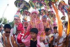 Desfiles del festival Poy-Cantar-largo en septentrional de Tailandia. fotografía de archivo libre de regalías