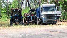 Desflorestamento e carga automatizada em um veículo do caminhão filme
