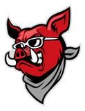Desgaste de la cabeza del cerdo una bufanda stock de ilustración