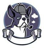 Desgaste do cão do terrier de Boston um chapéu do detetive Fotos de Stock