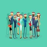 Desgaste Santa Hat Merry Christmas And dos empresários Foto de Stock Royalty Free
