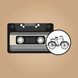 Desgin de fond de vintage de bicyclette de cassette de musique Photo libre de droits
