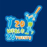 Desgin do cartaz do campeonato do mundo do grilo T20 Fotos de Stock
