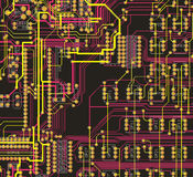 The desgn printed circuit board. The design of the desk with integrated electronic parts and connections. Printed circuit Royalty Free Stock Photos