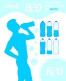 Deshidratación sedienta de consumición del agua del trago H2O del hombre Fotografía de archivo libre de regalías