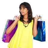 Desi girl shopping Stock Images