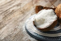 Desiccated coconut in nut Royalty Free Stock Images