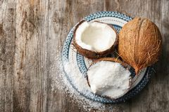 Desiccated coconut in nut Royalty Free Stock Photo