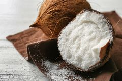 Desiccated coconut in nut Stock Images