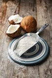 Desiccated coconut in scoop Royalty Free Stock Photography