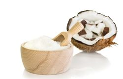 Desiccated Coconut in a Wooden Bowl Stock Images