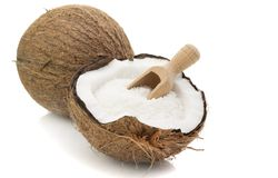 Desiccated Coconut and Wooden Scoop Stock Photos