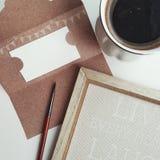 Desideri in bianco della cartolina per il vostro testo Foto piana di disposizione Fotografia Stock Libera da Diritti
