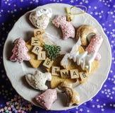 Desideri del piatto di Natale immagine stock