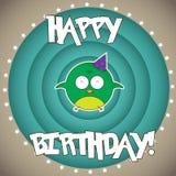 Desideri di buon compleanno da un bambino sveglio dell'uccello Illustrazione di Stock