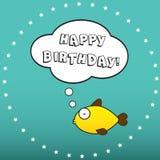 Desideri di buon compleanno da un pesce Immagine Stock
