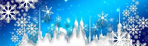 Desideri di Natale, arco con le stelle e neve, fondo Fotografie Stock