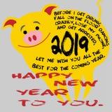 Desideri divertenti del maiale giallo del fumetto per il nuovo anno fotografie stock